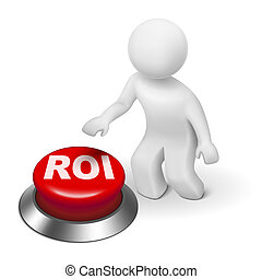3d man with roi return on investment button isolated white...