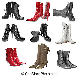 set of female boots isolated on white