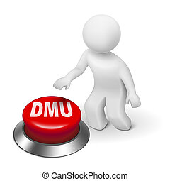 3d man with dmu decision making unit button isolated white...