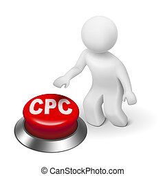 3d man with CPC ( Cost Per Click ) button isolated white...