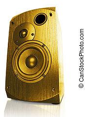 stylish speaker - orange audio equipment isolated on white...