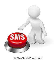 3d man with sms short message service button isolated white...