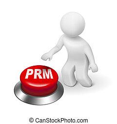 3d man with prm partner relationship management button...