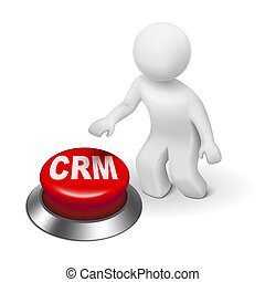 3d man with crm (Customer Relationship Management) button...