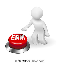 3d man with erm enterprise risk management button isolated...