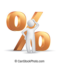 3d man thinking with a percent symbol isolated white...
