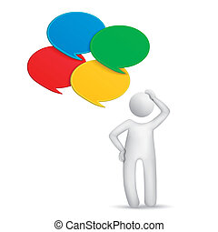 3d man thinking with four speech bubbles isolated white...