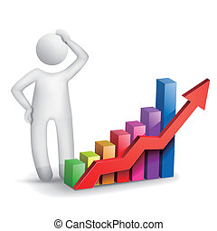 3d man thinking with a bar chart isolated white background