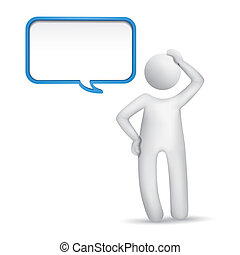 3d man thinking with a blank speech bubble isolated white...