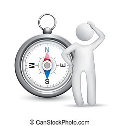 3d man thinking with a compass isolated white background