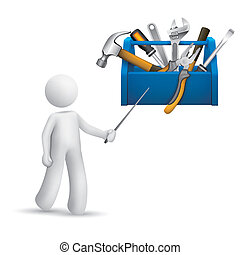 3d person pointing at a toolbox with tools isolated white...