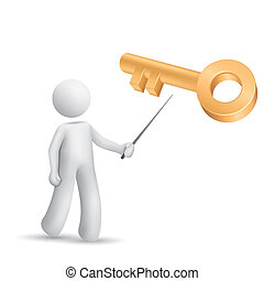 3d person pointing at a golden key