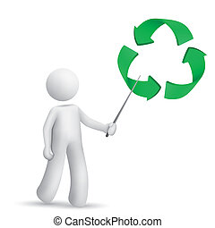 3d man is explaining the recycling symbol