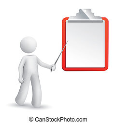 3d man is explaining the note isolated white background