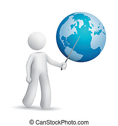 3d man is explaining the earth isolated white background