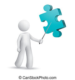3d person pointing at a puzzle isolated white background