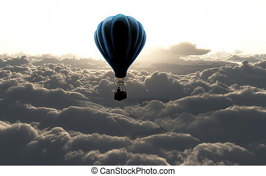 air balloon on sky with beautiful clouds