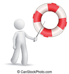 3d person pointing at a buoy isolated white background