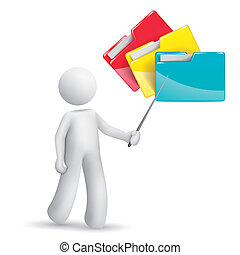 3d person pointing at folders isolated white background