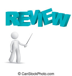 "3d person pointing at a word ""review"" isolated white..."