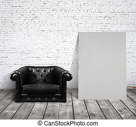 chair in room and blank cardboard