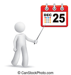 3d person pointing at a calendar with a stick isolated white...