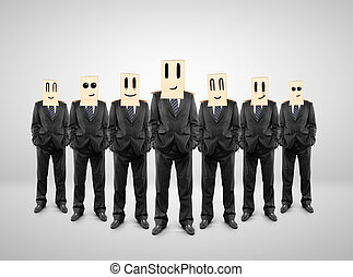 group of businessman with a box on head with smile