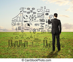 man drawing business strategy