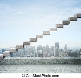 career stair against background of city