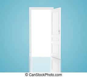 open door in blue room