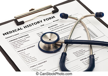 Medical history form with stethoscope