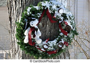 snowy wreath with decorations