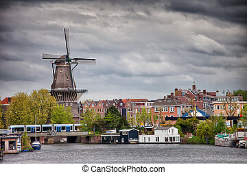 The Gooyer Windmill in the City of Amsterdam - The Gooyer...