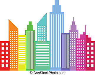Rainbow Colored Modern City Skyscrapers Buildings...