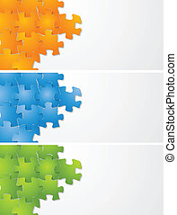 Abstract puzzle vector banners