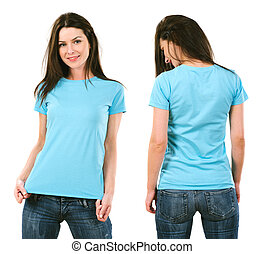 Brunette with blank light blue shirt - Photo of a beautiful...