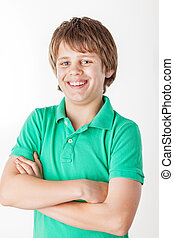 Young Boy - Portrait of a young boy wearing a green shirt