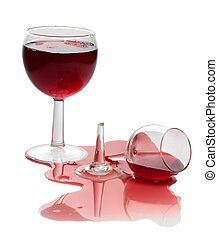 Spilled red wine - Broken glass and spilled red wine