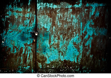 Rusty old green door with lock - Rusty old green metal door...