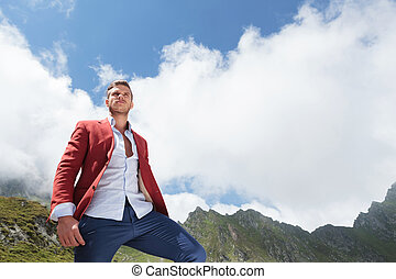 young man looking up to the sky