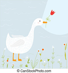 Spring greeting card with goose and flowers cartoon