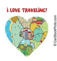 I love travel funny card with map heart