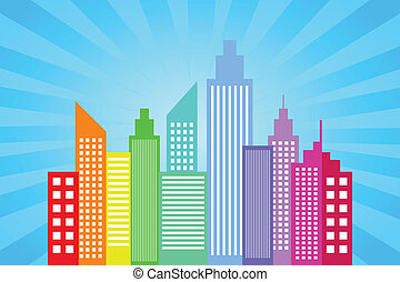 City Skyline With Blue Sun Rays Background Vector...