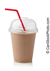 Chocolate milkshake - Glass of chocolate milkshake isolated...