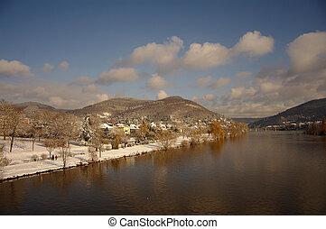 Neckar at winter, river in Heidelberg, Germany
