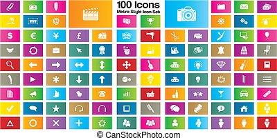 100 metro style rectangle icon set - suitable for user...