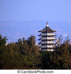 Large Pagoda in Central Taiwan - A large octagonal pagoda in...