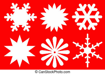 Snowflakes of white color - Snowflakes of white color on red...