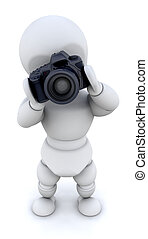 MAN USING CAMERA - 3D RENDER OF A MAN USING A CAMERA AND...