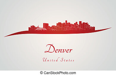 Denver skyline in red and gray background in editable vector...